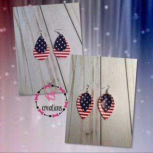 Faux Leather Patriotic Earrings